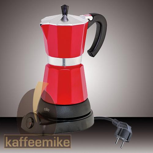 """Cilio """"Classico"""" 6 Tassen rot elektrischer Espressokocher"""