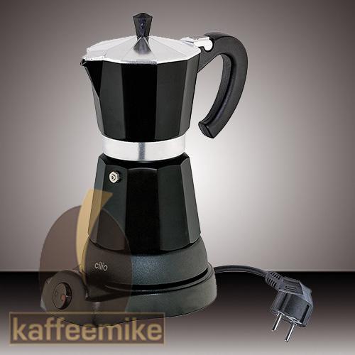 """Cilio """"Classico"""" 6 Tassen schwarz, elektrischer Espressokocher"""