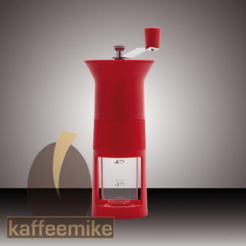 Bialetti Hand Kaffeemuehle, Macina Caffe rot mit Keramikmahlwerk